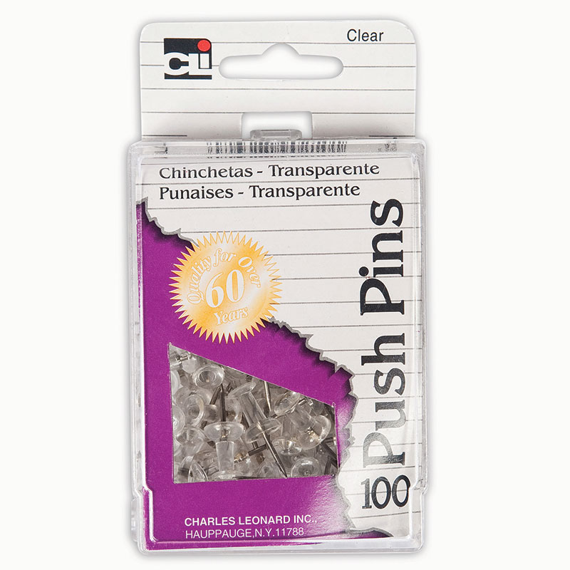 (10 Bx) Clear Push Pins 100 Per Box