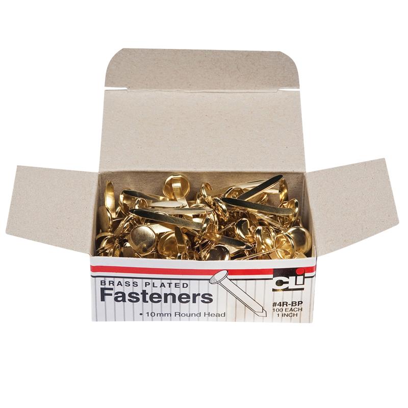 (10 Bx) Brass Paper Fasteners 1in